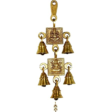 Amazon Com Shalinindia Handmade Brass Lord Ganesha Wall Hanging Puja Idol With 3 Diyas And Bells Sports Outdoors