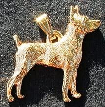 Rat Terrier Dog 24k Gold Plated Pewter Pendant