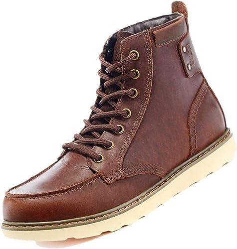 Parte Inferior Plana botas Altas De Exterior botas De Cuero para Hombre Retro BritáNiño Derby TransPiñable Hecho A Maño marrón A Pie