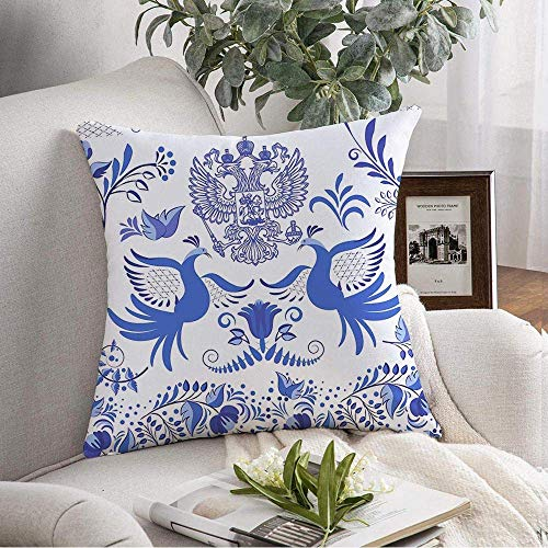 ETGeed Set Blue National Decoration in Asian Painting Patterned Folk Flower s Design Style Throw Pillow Covers For Decoration,18'x18'
