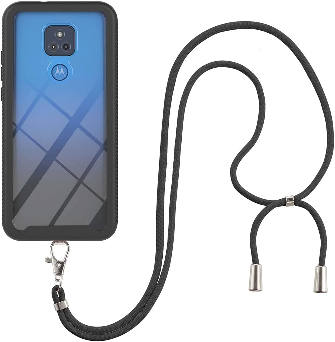 Moto G Play (2021) Case, Gift_Source Slim Shockproof Crossbody Case 2 in 1 Soft Silicone Bumper & Clear Hard PC Back Cover Shell with Lanyard Neck Strap for Motorola Moto G Play (2021) 6.5