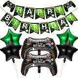 Suministros de Fiestas de Videojuegos Incluye 6 Piezas Globos de Game on Globos de Controlador de Videojuegos 18 Pulgadas Globos de Papel Aluminio Estrella Verde Negro y 1 Pancarta de Happy Birthday