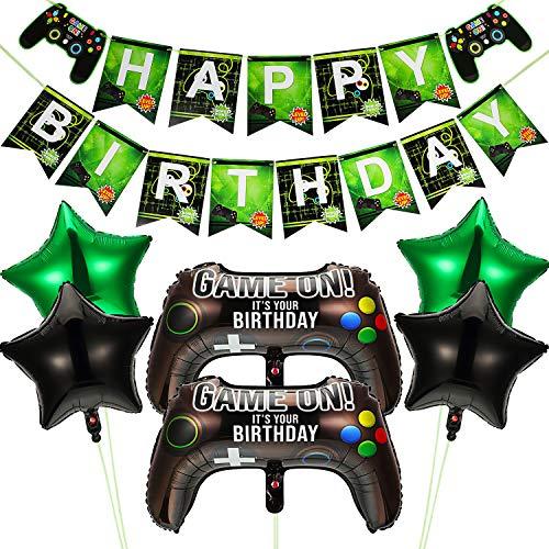 Videospiel Party Bedarf Enthält 6 Stück Game on Luftballon Videospiel Game Controller Luftballons 18 Zoll Grün Schwarz Stern Aluminium Folie Ballon und 1 Stück Happy Birthday Banner für Geburtstag