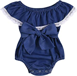 bcf98a5aa02f Toddler Newborn Baby Girls Jumpsuit Off Shouler Bowknot Lace Romper Spring Summer  Bodysuit Outfits
