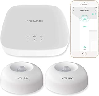 Smart Motion Sensors, YoLink 1/4 Mile World's Longest Range Wireless Motion Detector Compatible with Alexa IFTTT Human Movement Detector with App Alerts and Remote Monitor, 2 Pack, YoLink Hub Included