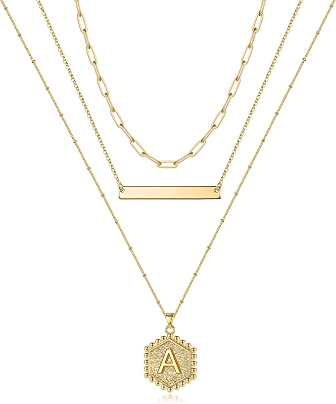 Gold Layered Initial Necklaces for Women, 14K Gold Plated Bar Necklace Handmade Layering Hexagon Letter Pendant Beads Chain Necklace Layered Necklaces for Women Gold Jewelry Gifts