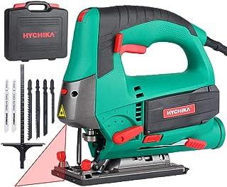 comprar comparacion HYCHIKA Sierra de Calar 800W, Corte en Madera: 110mm, 800W 800-3000SPM, Velocidad Ajustable (1-6), 4 Modos de Corte, Corte...