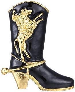 Générique Broche Motif Botte de Country, Cow-Boy Noir et doré avec Motif Cheval rodéo.