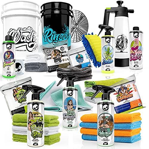 Nuke Guys professionelles Auto Wasch Set für die optimale Handwäsche: Wascheimer Schmutzeinsatz - Waschen - Trocknen - Insektenentferner - Snow Foam - Quickdetailer - Innenreiniger - passendes Zubehör