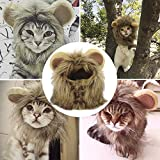 YAWALL Pet Costume Cosplay Lion Mane Wig Cap Hat for Cat Halloween Xmas Clothes Fancy Dress with Ears Autumn Winter