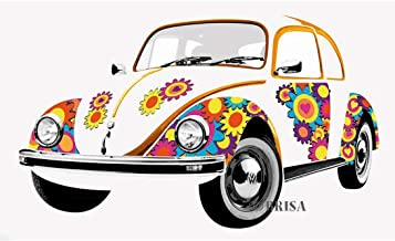 BRISA VW Collection - Volkswagen Classic Beetle Car Bug - Large & Stylish Self-Adhesive Volkswagen Wall Tattoo Sticker Decoration Poster, Multi-Part (180x120 cm/Flower Power)