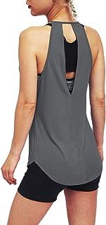 Bestisun Women's Backless Tank Top Keyhole Workout Shirts Open Back Sports Tank Tops Sexy Backless Yoga Shirts Flowy Worko...