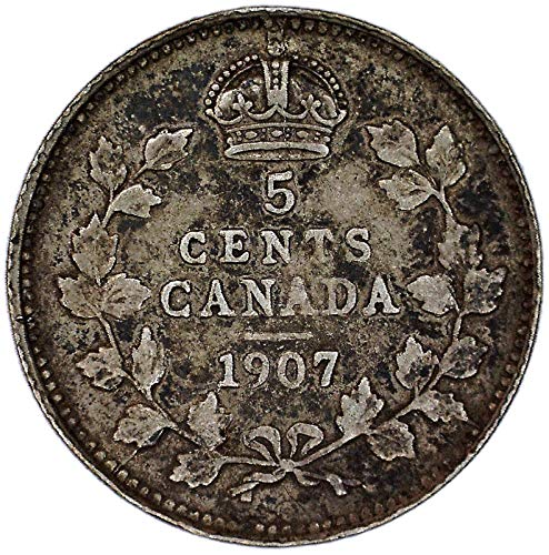 1907 CA Edward VII Canadian KM# 13 Silver 5 Cent Very Good