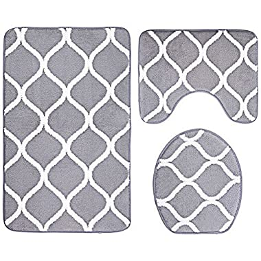 3-Piece Bathroom Mat Set, Extra Soft Memory Foam Combo - Rug, Contour Mat and Lid Cover (Grey)