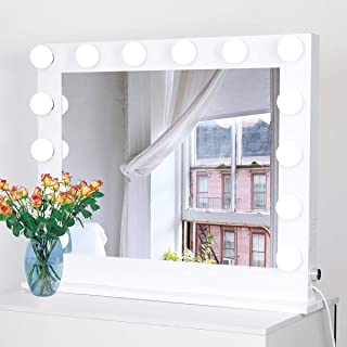 Showtime Hollywood Mirror with Lights, Lighted Vanity Makeup Mirror with Dimmer, 2 USB Plug and Plugs, Tabletop or Wall-Mounted, 31.5 x 25.5inch, White