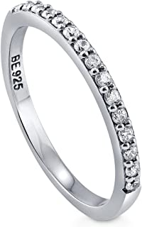 BERRICLE Rhodium Plated Sterling Silver Cubic Zirconia CZ Wedding Half Eternity Band Ring