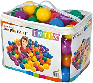 Intex Fun Balls - 100pcs Multi-Colored Plastic Balls Toy, for Ages 2 and above