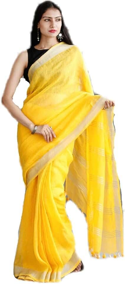 Indian INDIA SILK PWCS LTD Women's Bhagalpuri Linen Slub Batik Print Saree with Blouse Piece (CSZBP29, Yellow) Saree