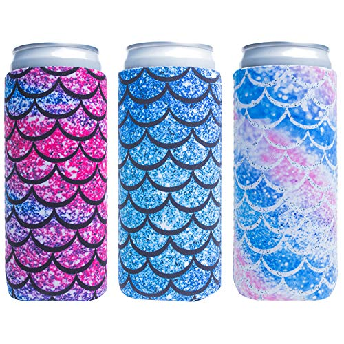 Slim Can Sleeves - Neoprene Bottle Insulator Sleeve Set of 2 Can Beverage Coolers for 12oz Energy...