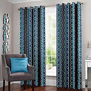 Story at Home Window Curtain, Grey/Turquoise, 118 X 215cm, Dnr4033, 2Pcs