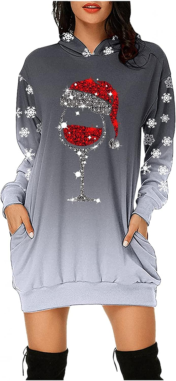 Christmas Hoodie Dresses for Women,Women Cute Joy Santa Claus Printed Long Sleeve Tunic Sweatshirt Dress Blouse with Pocket