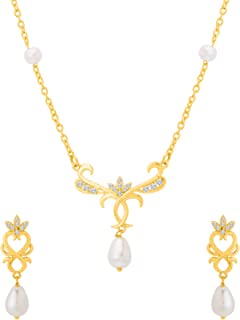 Voylla Baroque Pearl Elegant Long Necklace Set Jewellery for Women