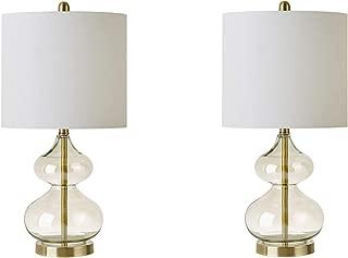 510 Design 5DS153-0014 Ellipse Desk Lamp, Bedside Nightstand Bedroom Light Modern Luxe Design, Glass, Bottle Gourd Shape, Metal Gold Base, Fabric Drum Shade, Accent Living Room Furniture Décor,