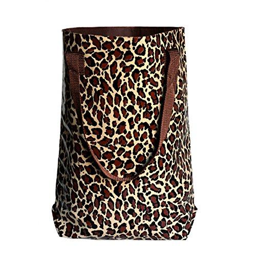 IKURI wasserabweisender Shopper Beutel Umhängetasche Badetasche Strandtasche aus Wachstuch Leopard, Handarbeit
