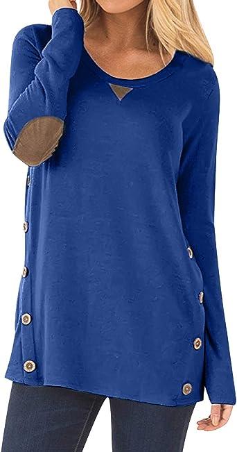 Camisetas Manga Larga Mujer con Botones Oversize Largas Camiseta Lisas Basica Tops Tunica Playeras Anchas Jersey Camisa Blusa Túnica Tunicas Poleras ...