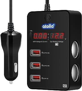 Cigarette Lighter Splitter Car Charger, Atolla 120W 12V/24V Car Cigarette Lighter to 3 USB Charger Adapter + 2 Cigarette Lighter Socket, Current/Voltage Monitoring Voltmeter Display & ON/Off Switch