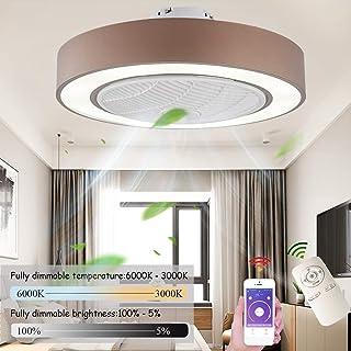 Ventilador De Techo Con Ventilador, Regulable Con Mando A Distancia, La Velocidad Del Viento Ajustable, 72W Moderno Ultra Silencioso Dormitorio De La Sala De La Lámpara Del Ventilador (Ø55CM),Marrón
