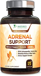 Adrenal Support & Cortisol Manager Health Complex 1300mg - Max Potency Stress Relief & Adrenal Fatigue Supplement with Ashwagandha, Licorice Root, Rhodiola Rosea & Other Herbs, Non-GMO - 120 Capsules