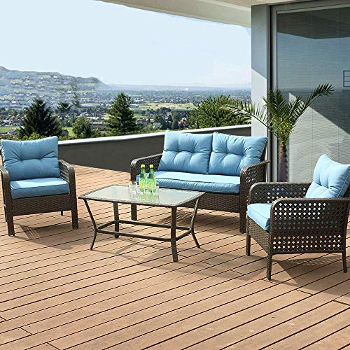 LUCKWIND Patio Sofa Chair Table Ottoman - 5 Piece All-Weather Brown Checkered Wicker Rattan Seating Olefin 3-Layered Ergonomic Cushion Modern Glass Coffee Table Outdoor 300lbs (Blue 4 SEAT)