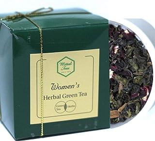 Mittal Teas Women's Herbal Green Tea Green Tea, Rose, Lavender, Cinnamon, Tulsi, Ashwagandha 50 Cups 100g Aromatherapy Str...