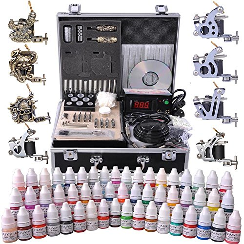 AW Professional Complete Tattoo Kit 8 Machine Gun 54 Ink Power Supply Grip Tip Foot Switch Equipment Set with Case