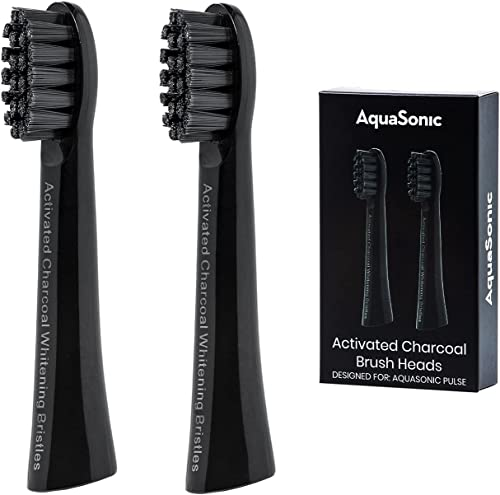 high quality AquaSonic Pulse Activated Charcoal Replacement Brush outlet online sale Heads - Ultra Whitening Brush Heads - 2X Whitening & Stain Remover - Compatible outlet sale only with AquaSonic Pulse- 2 Pack (Black) sale