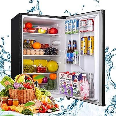 Compact Refrigerator, TECCPO 4.5 Cu.Ft Mini Fridge with LED Light, Energy Star, Adjustable Thermostat Control, Reversible Door, Super Quiet for Bedroom, Dorm, Office, Apartment- Black- TAMF09