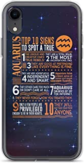 Compatible for iPhone Xs Max Cover Case Top 10 Signs to Spot A True Aquarius Deep Space Galaxy Stars, Clear Anti-Scratch