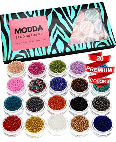 Modda Glass Seed Beads - 2mm Small Colorful Craft Pony Waist Beads for Bracelets, Earrings, Necklaces, Crafts, Jewelry Making Supplies - 20 Color Bead Kit with Clear Elastic String and Beading Needle