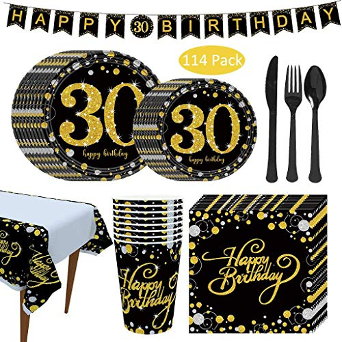 114Pcs Black Gold Party Tableware Set,Disposable Paper Plates Table Cloth 30Th Birthday Party Decoration Supplies for Christmas Wedding Baby Shower Anniversary (16 Guests)