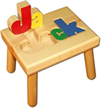 wooden step stool with name puzzle
