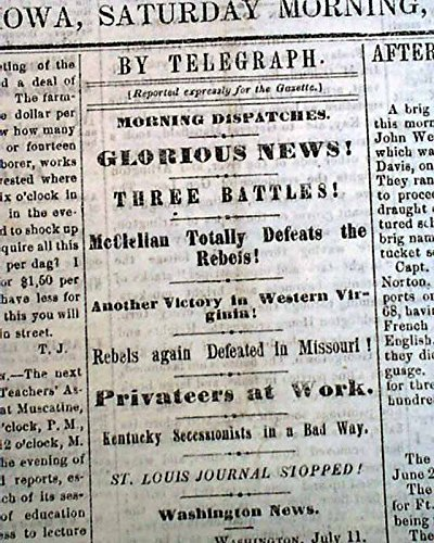 Rare DAVENPORT Iowa Civil War w/ Battle of Rich Mountain WV 1861 Old Newspaper DAVENPORT DAILY GAZETTE, Iowa, July 13, 1861
