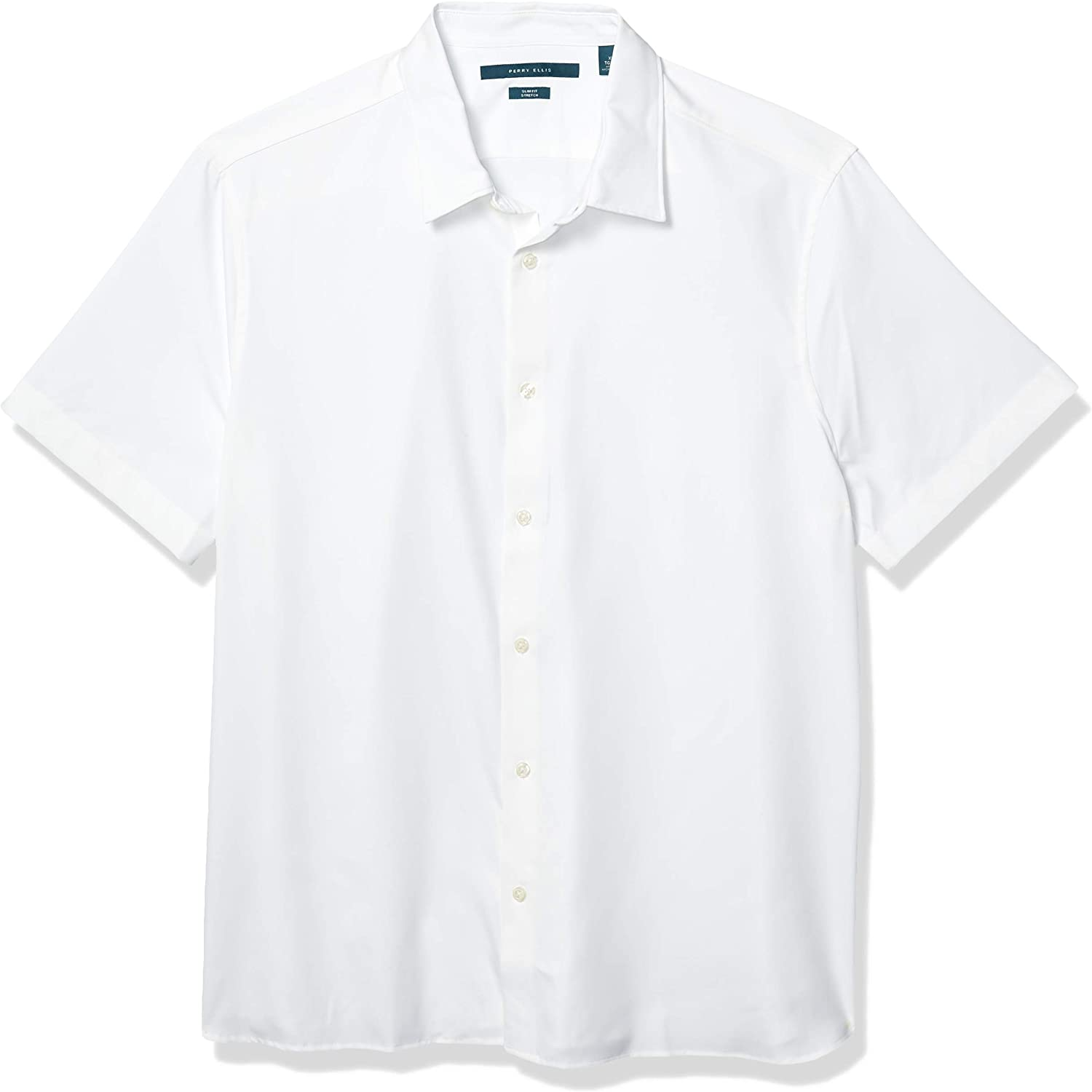 Perry Ellis Men's Total Stretch Slim Fit Solid Short Sleeve Button-Down Shirt