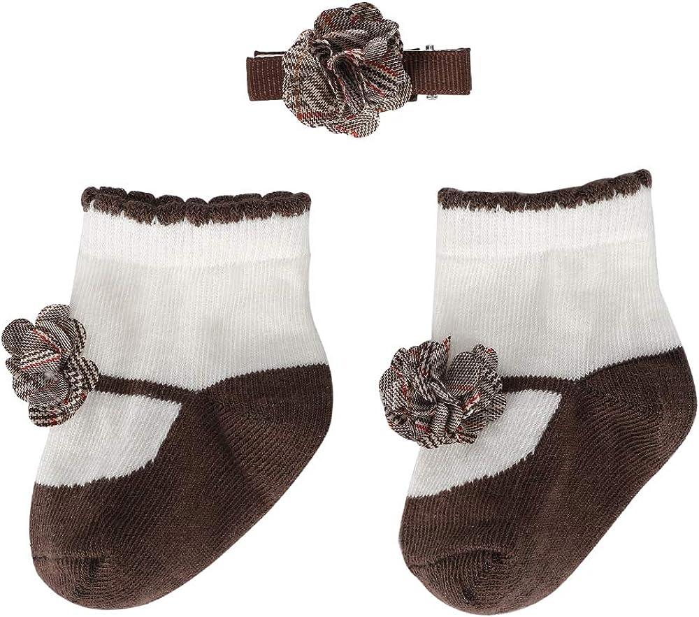 Baby Socks Gift Set Newborn Socks Sets For Girls Infant Cotton Socks Little Gentleman Bow Tie Pretty Hairpin, baby 0-12m
