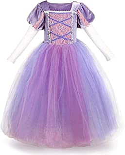 Girls Princess Rapunzel Dress Costume Fairy Tale Cosplay Fancy Dress Up Birthday Party Long Tulle Gown with Braided Wigs