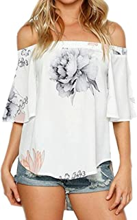 Jmwss QD Women's Stylish Off Shoulder Floral Print High Low Loose Fit Top Blouse T Shirt White Medium