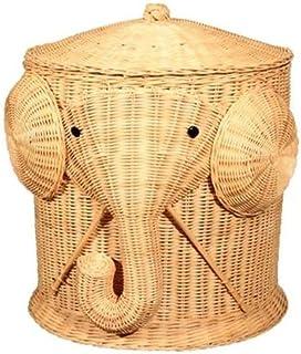 HDDFG Éléphant panier à linge en osier panier tissé corbeille à vêtements avec couvercle coton grands paniers de rangement...