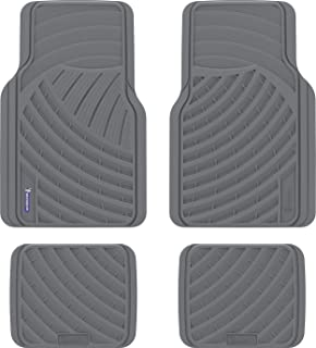 MICHELIN Automotive All Weather Rubber Floor Mats: 4 Piece Set (Front + Rear), Universal Fit, Grey