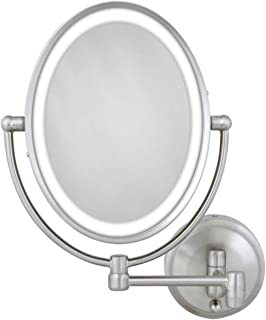 Zadro 10X/1X Next Generation LED Lighted Oval Wall Mount Mirror, Satin Nickel