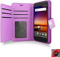 ZTE Avid 4 Case, ZTE Avid 4 Wallet Case, by [T MAN ] Leather [Double] Wallet Card Slots Cover Case for Metro Pcs ZTE Avid 4 Z855 (Purple)